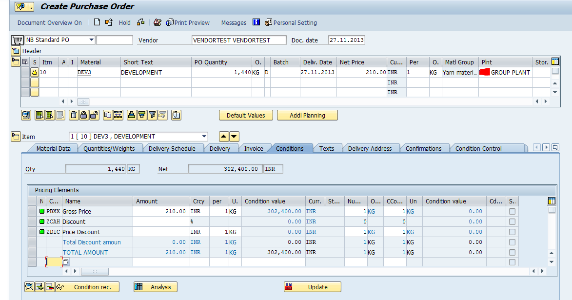 purchase order document flow table in sap
