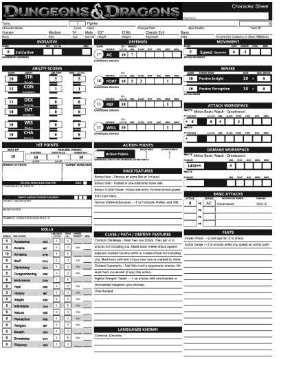 dungeons and dragons character sheet word document