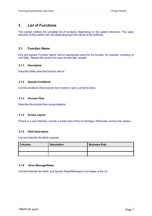 functional specification document sample for website
