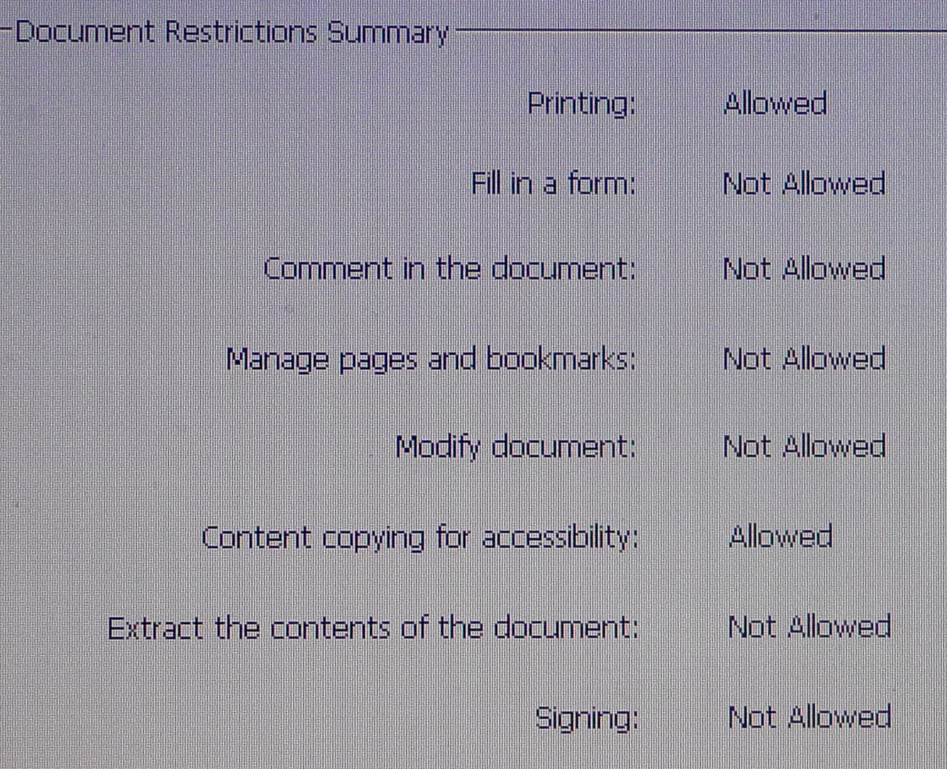 pdf security settings document assembly