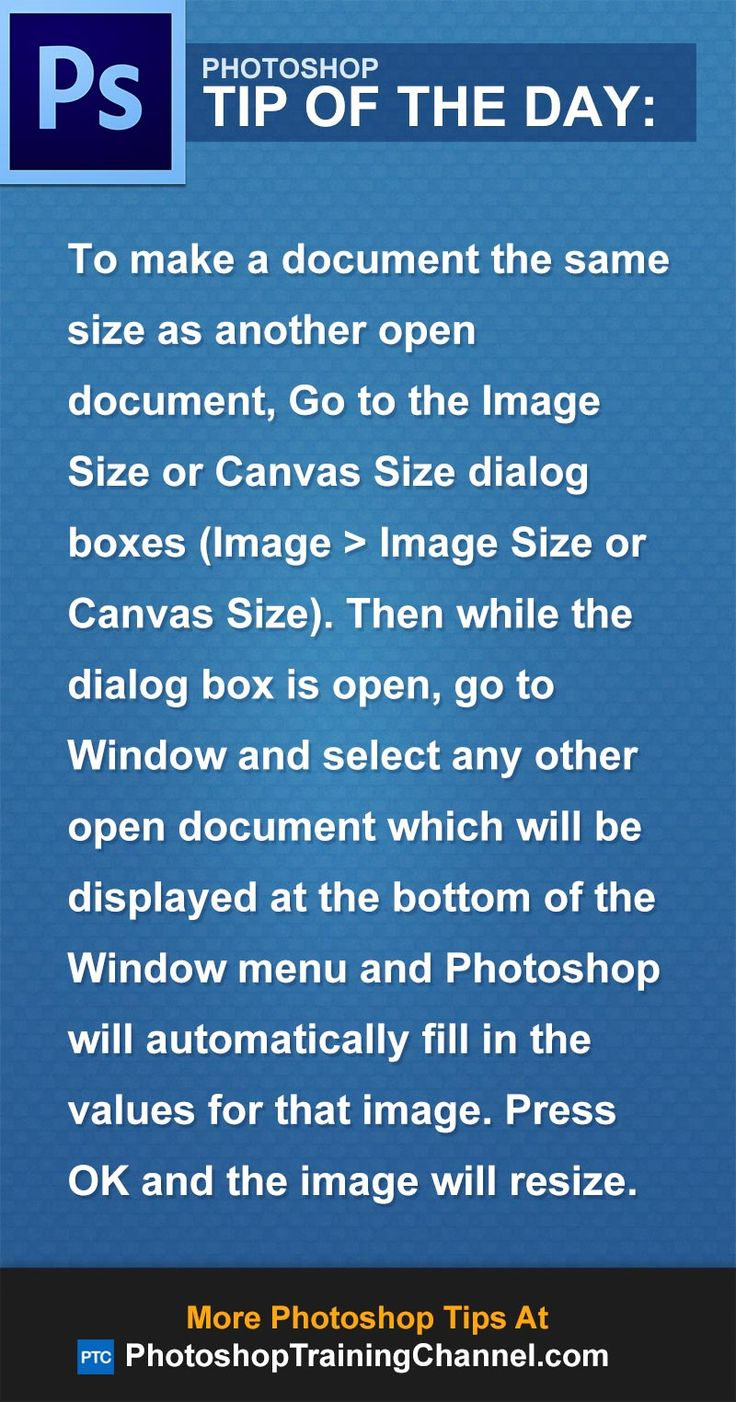 create new photoshop document same size as open document