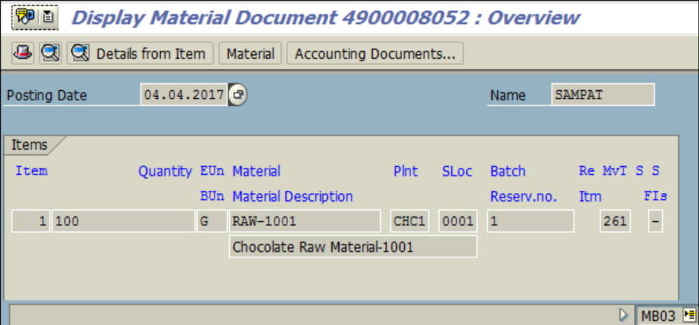 t code to check material document in sap