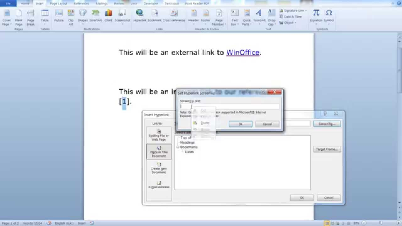 how to make a word document a link
