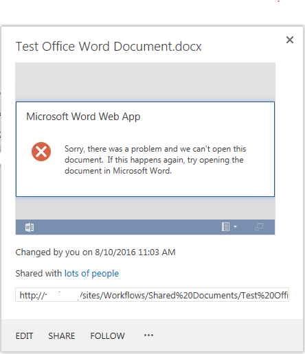 word 2016 crashes when opening document